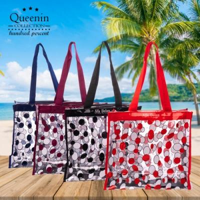 DF Queenin流行 - 透明果凍花朵手提拉鏈大海灘袋-共<b>2</b>款