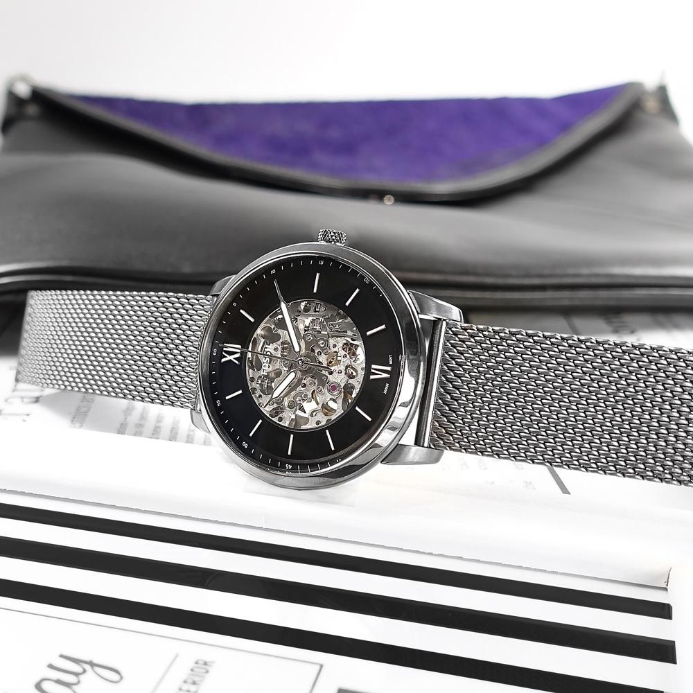 FOSSIL / Neutra 機械錶 自動上鍊 鏤空 羅馬刻度 米蘭編織不鏽鋼手錶-鍍灰/44mm