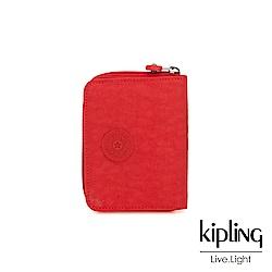 Kipling 珊瑚紅素面短夾-MONEY POWER