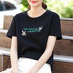 初色  顯瘦字母刺繡T恤-黑色-(M-2XL可選)