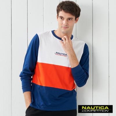 Nautica COMPETITION撞色拼接長袖T恤-藍色