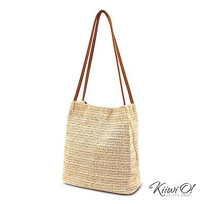 Kiiwi O! bucketbag | 夏季簡約草編水桶包 杏色