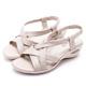 CHOiCE 簡約舒適休閒 交叉編織牛皮氣墊涼鞋-米色 product thumbnail 1