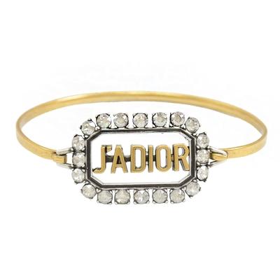 Christian Dior J ADIOR 復古鑲嵌水鑽窄版手環(金)