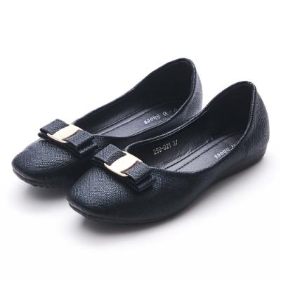A one  方頭飾釦雙層蝴蝶結娃娃平底包鞋-黑色