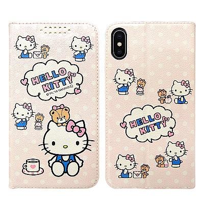 凱蒂貓 iPhone Xs X 5.8吋 粉嫩系列彩繪磁力皮套(小熊)