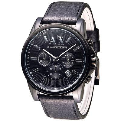 A│X Armani Exchange潮流極致IP黑計時男錶-黑(AX2098)/44mm