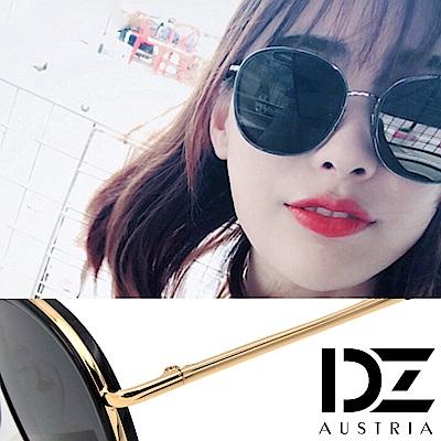DZ 潮人層圓框 抗UV防曬太陽眼鏡墨鏡(金框黑灰片)