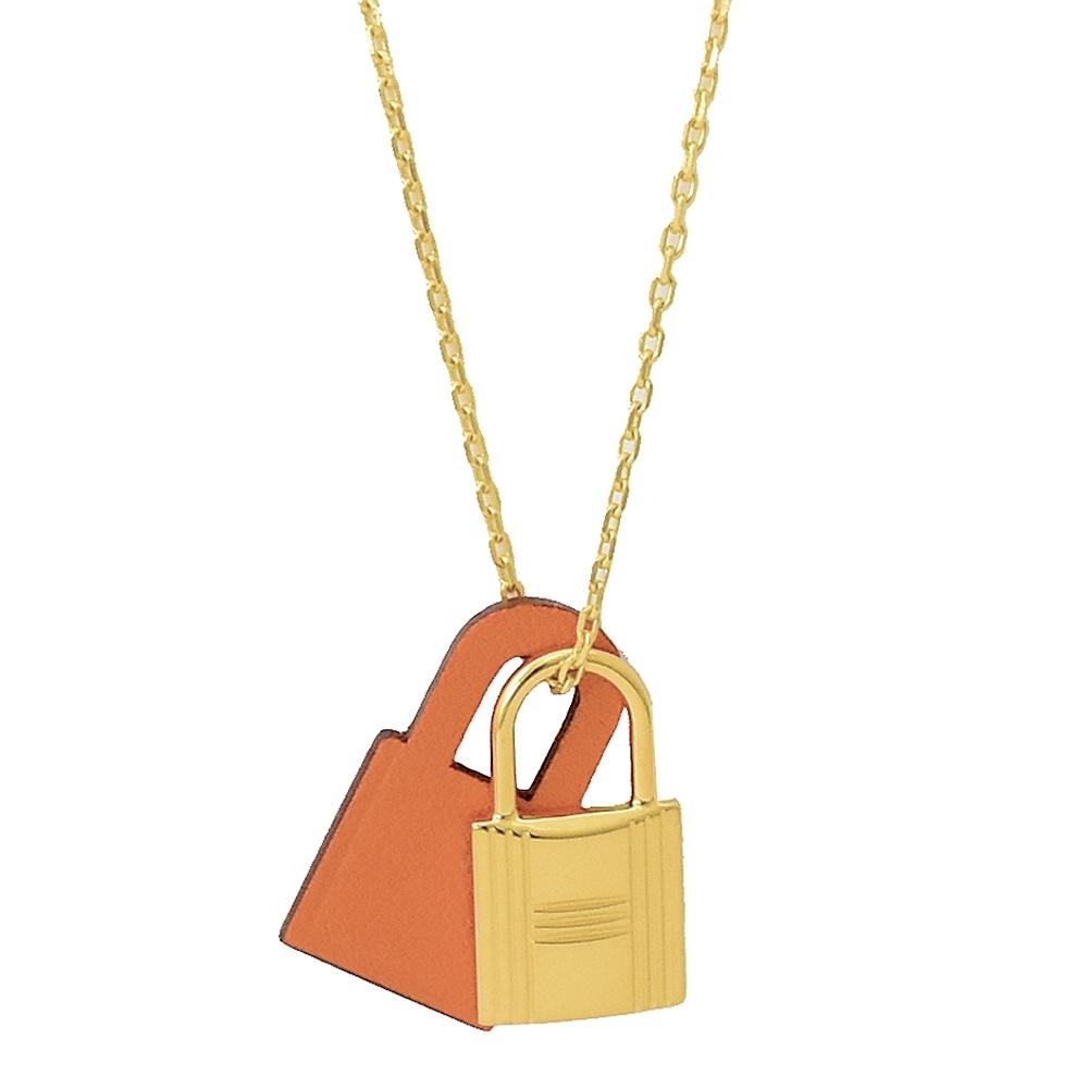 HERMES KELLY款鎖頭造型皮革項鍊(金/橘)
