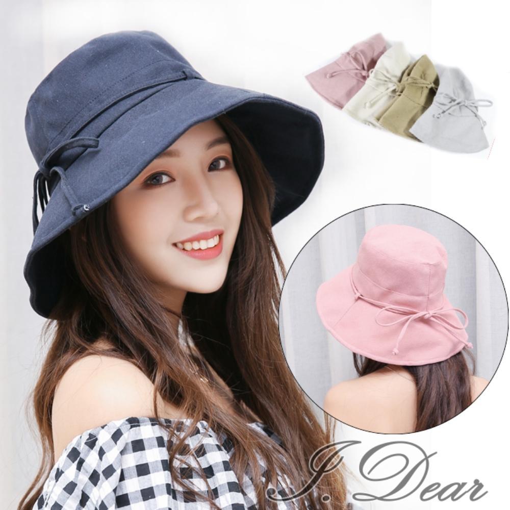 I.Dear-日本UV CUT蝴蝶結細繩防曬遮陽布帽(6色)