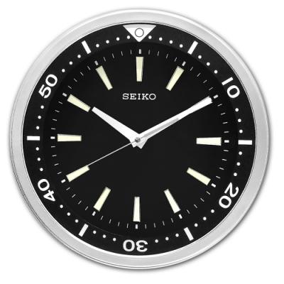 SEIKO 精工 / 潛水錶造型 夜光 黑水鬼 滑動式秒針 靜音掛鐘-黑色