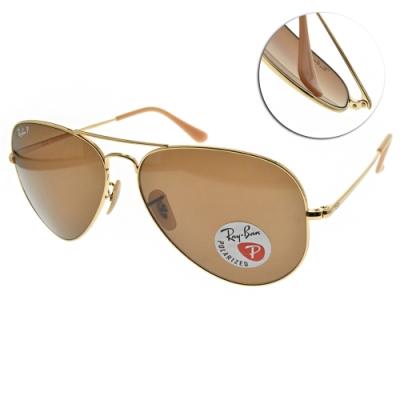 RAY BAN太陽眼鏡 偏光飛官款/金 #RB3689 906447-62mm