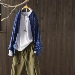 格子襯衫長袖寬鬆上衣中長版外搭-設計所在