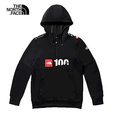 【限定】The North Face北面男女款黑色舒適長袖連帽T恤|49BQKX9