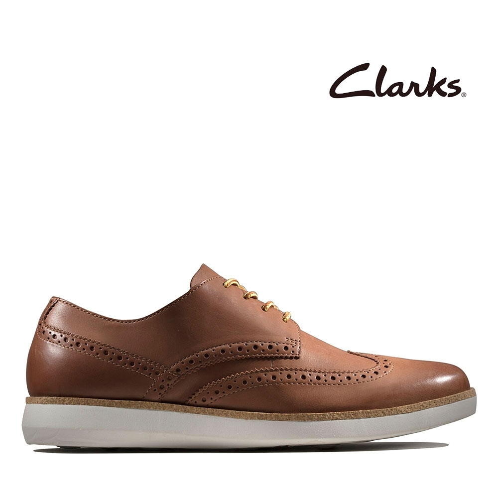 Clarks 步步清新 全皮面復古簡約風正裝休閒鞋 棕褐色