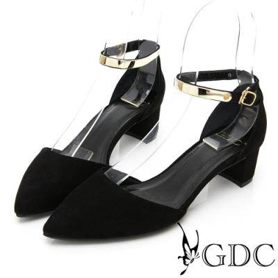 GDC-歐美質感羊絨高貴金屬繞踝中空尖頭粗跟涼鞋-黑色
