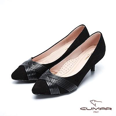 【CUMAR】復古典雅- 異材質編織鞋面尖頭高跟鞋