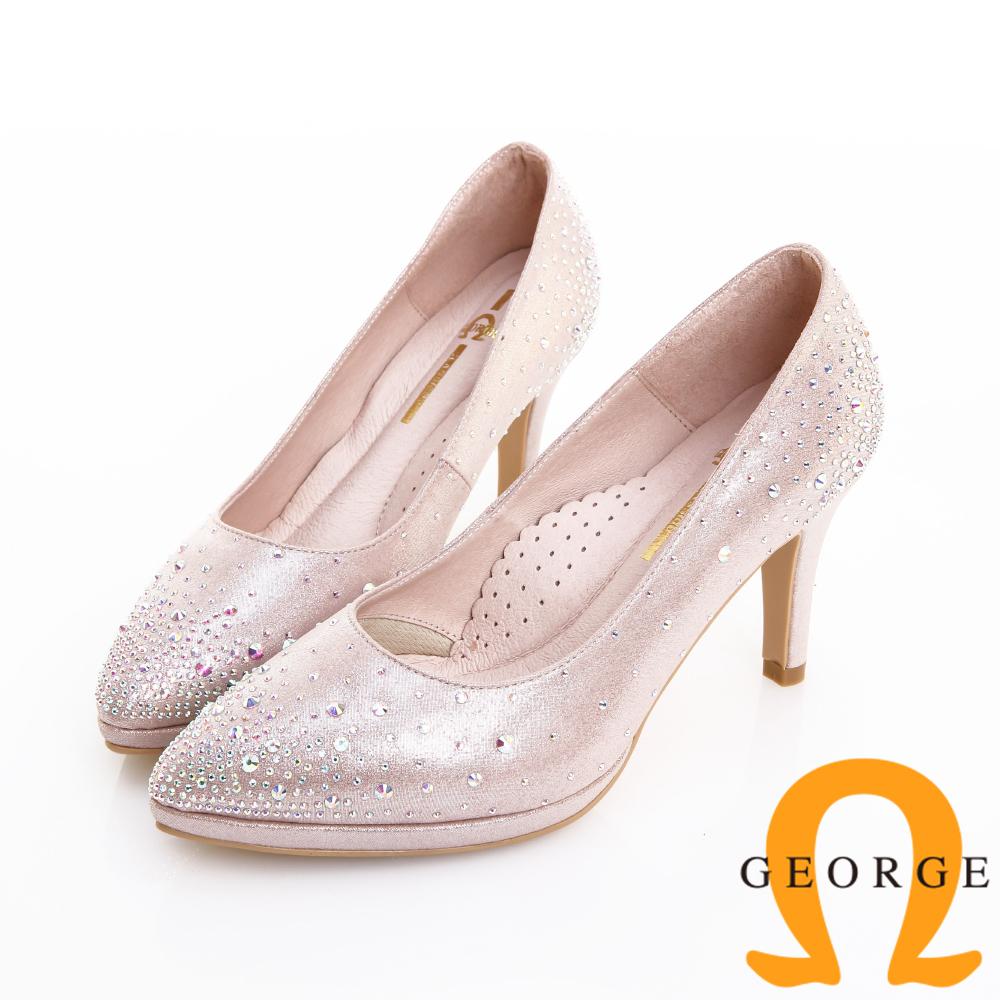 GEORGE 喬治皮鞋 婚鞋系列 繁星水鑽典雅氣質跟鞋 -粉