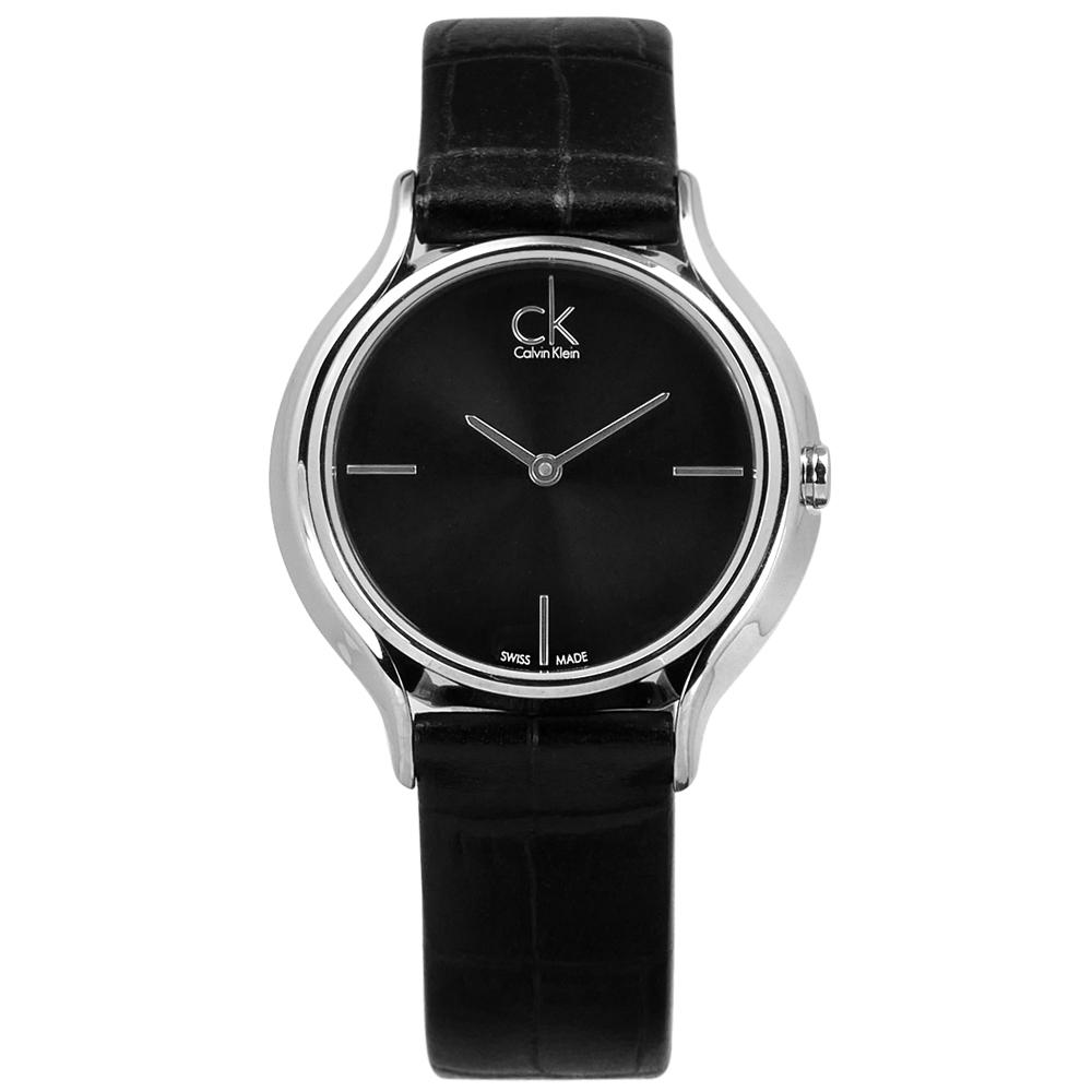 CK Skirt 極簡時尚 仕女 瑞士機芯 壓紋皮革手錶-黑色/34mm