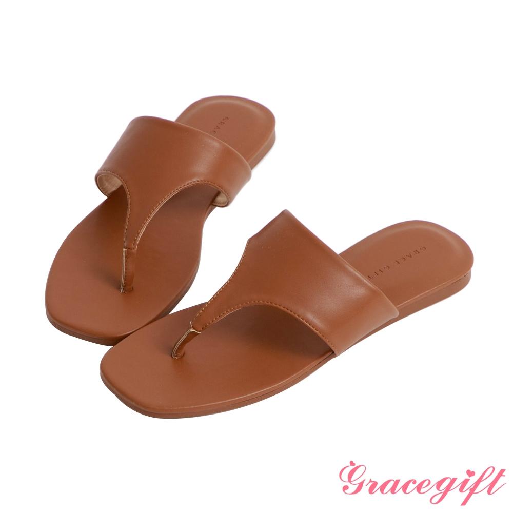 Grace gift-人字寬版平底涼拖鞋 棕