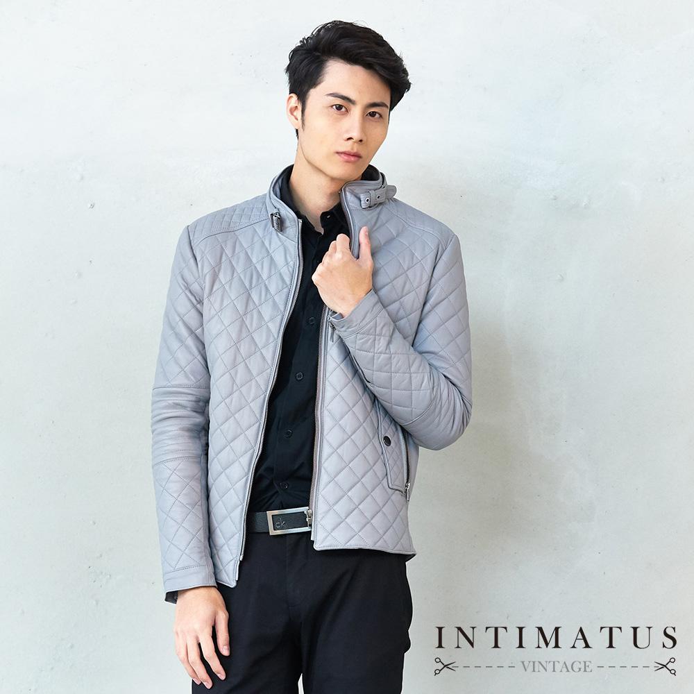 INTIMATUS 真皮 菱格質感防風鈕扣式設計鋪棉頂級小羊皮皮衣 時尚灰