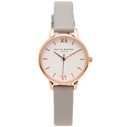 OLIVIA BURTON  文青簡約風皮帶款手錶-白色面/30mm