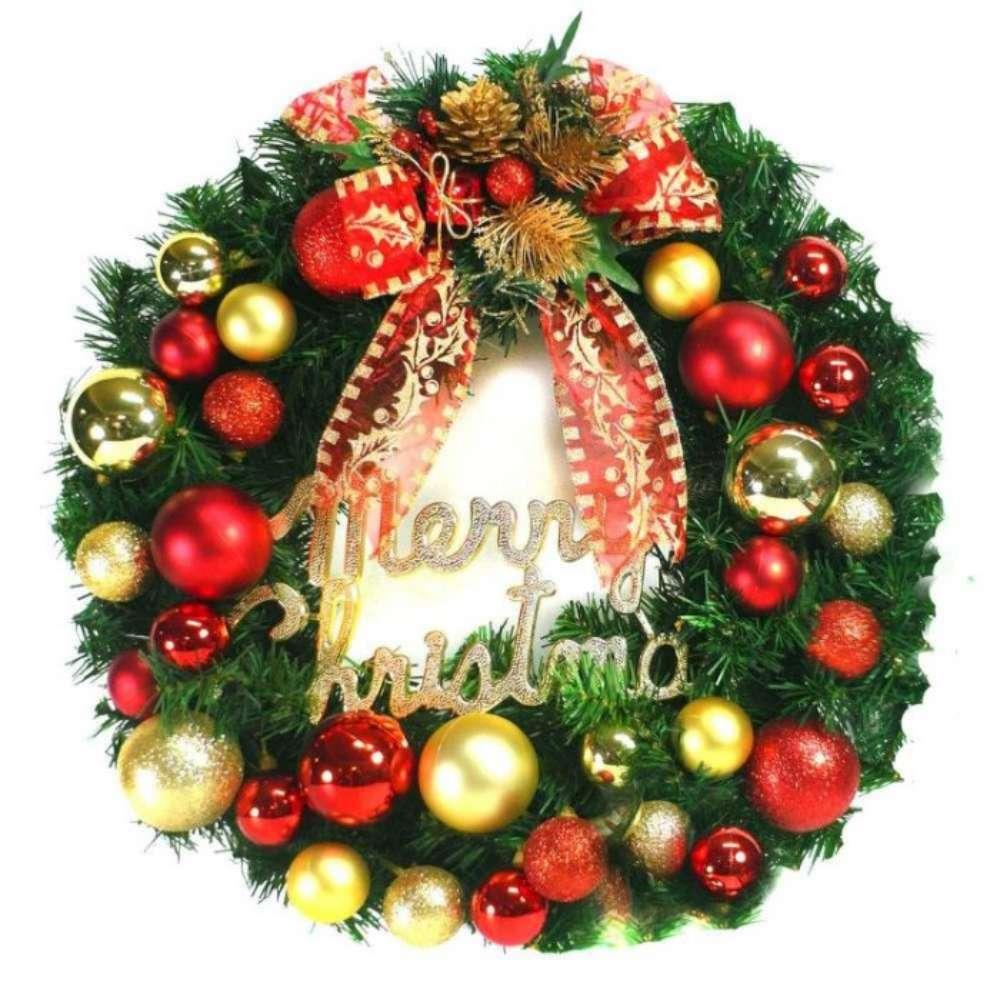 摩達客 20吋繽紛圓球高級綠色聖誕花圈(紅金色系)(台灣手工組裝出貨)本島免運費