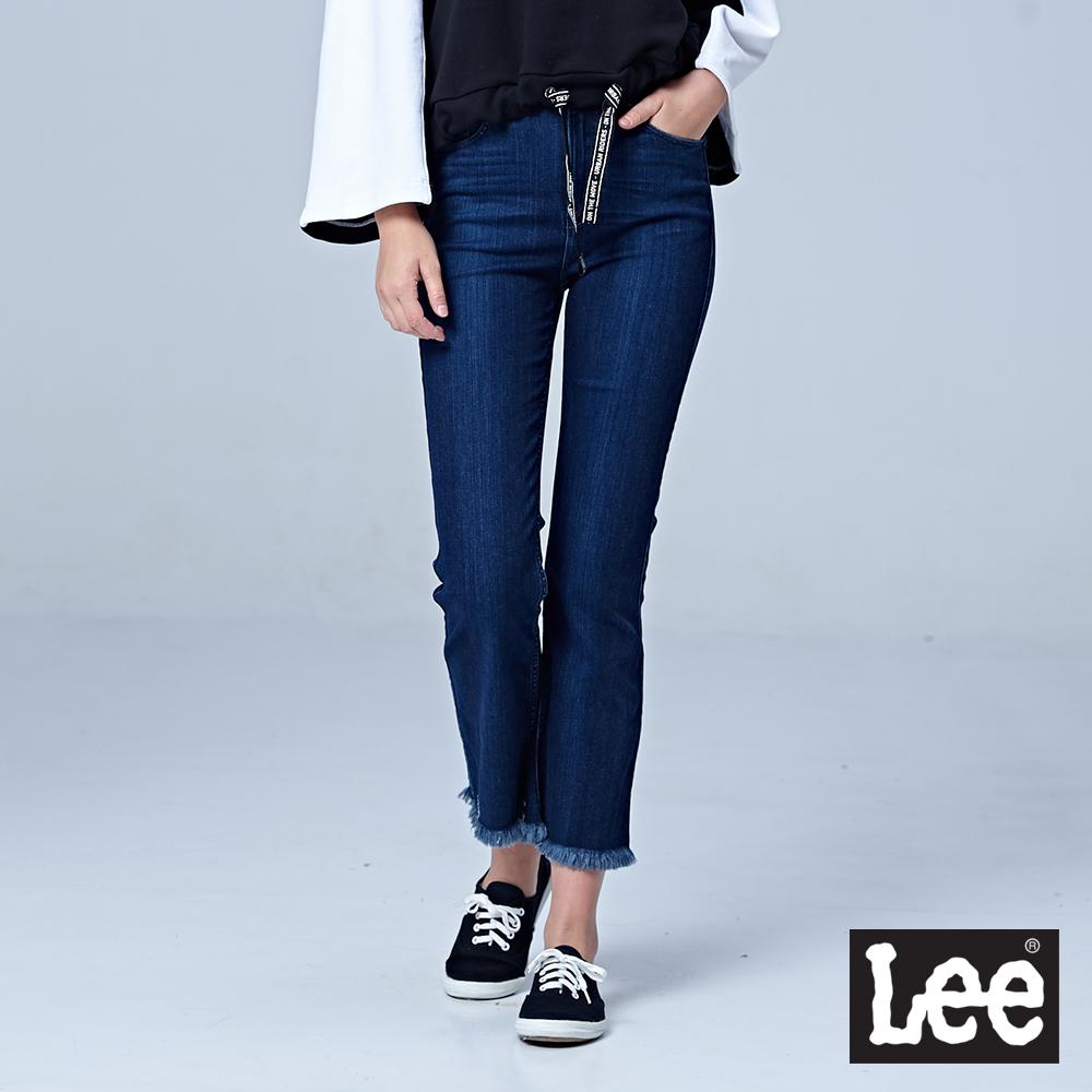 Lee 9分褲腳抽鬚設計牛仔褲/BO-中藍色
