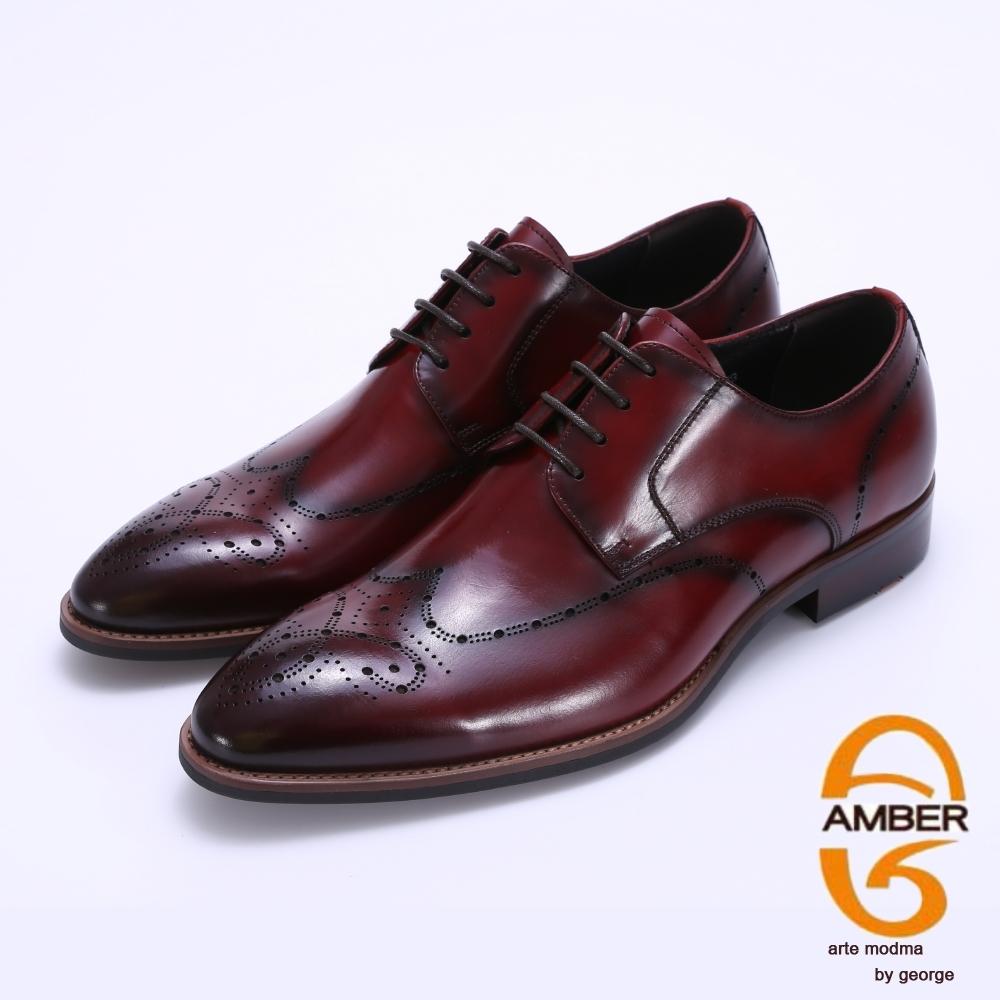 Amber 手工漸層雕花牛津紳士皮鞋-酒紅