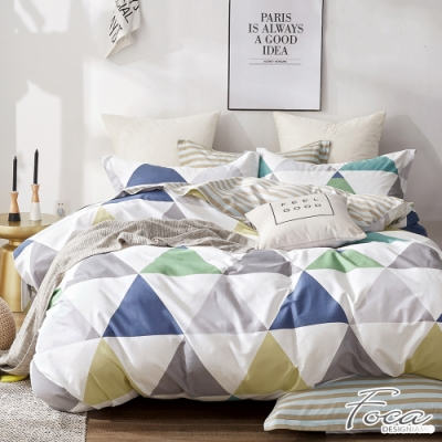 FOCA一角兩角三角形-特大-韓風設計100%精梳純棉四件式兩用被床包組