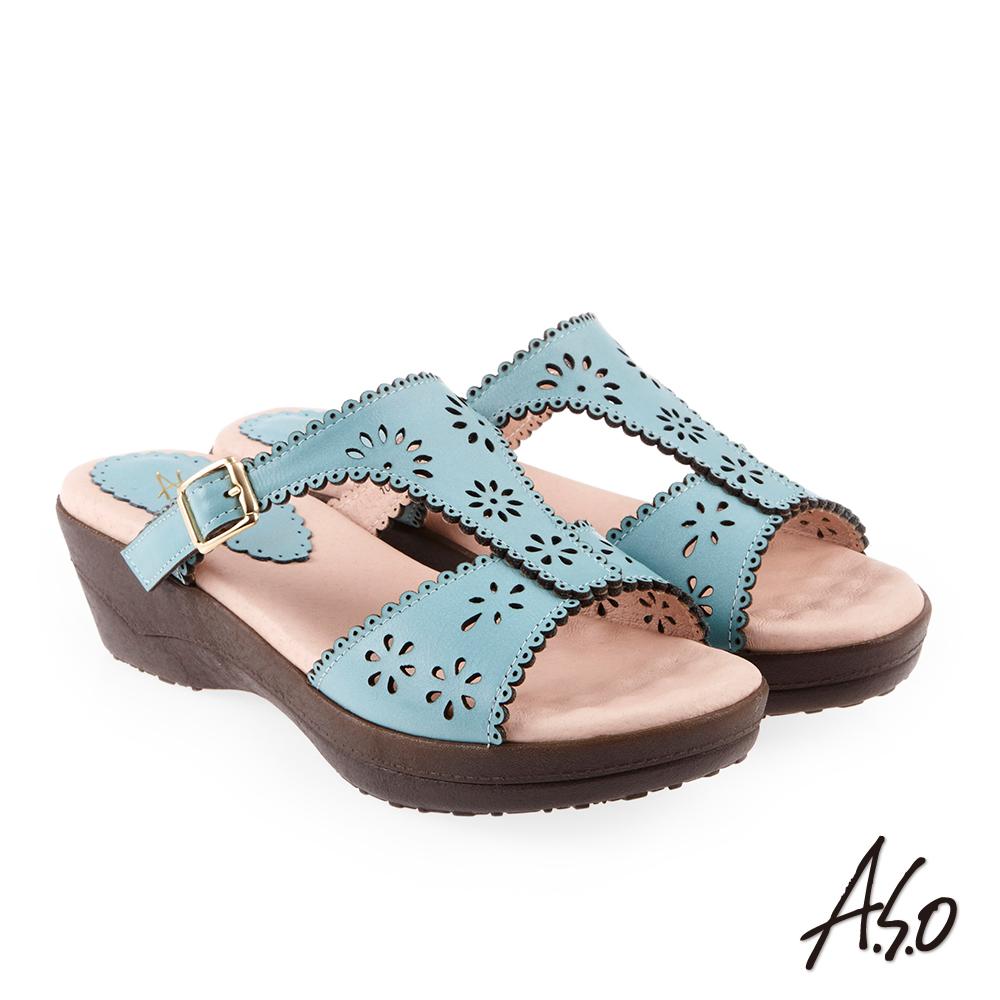 A.S.O 希臘渡假 花飾沖孔滾邊全真皮休閒厚底拖鞋 湖水藍
