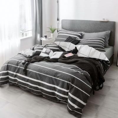 A-ONE 100%純棉-黑白E系列-雙人床包/枕套組-黑色調調