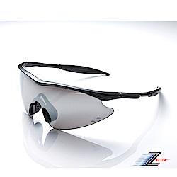 【Z-POLS】兒童專用質感亮黑搭配一片式電鍍水銀黑舒適運動太陽眼鏡