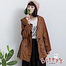 betty's貝蒂思 百搭抽繩口袋拉鍊風衣外套(駝色)