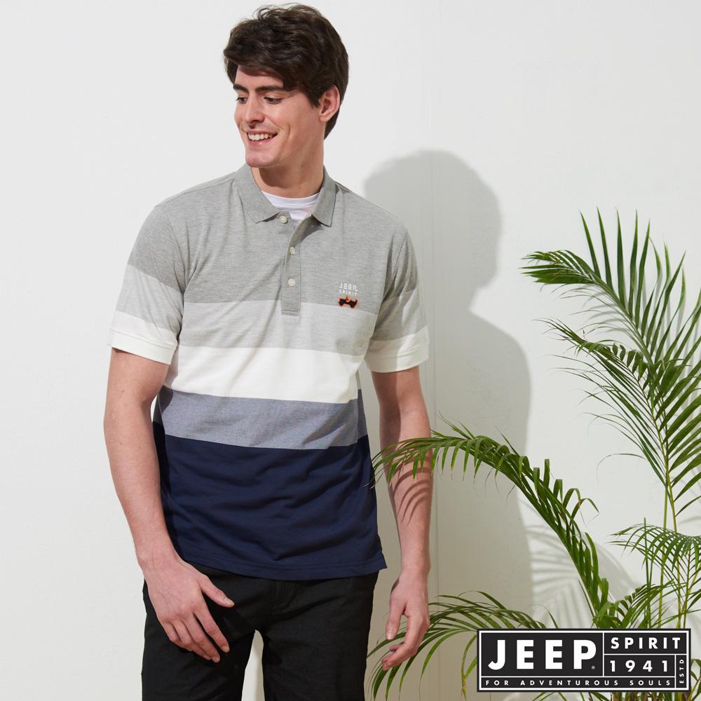 JEEP 漸層造型質感短袖POLO衫-灰色