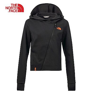 The North Face北面女款黑色吸濕透氣連帽外套 3LBJJK3