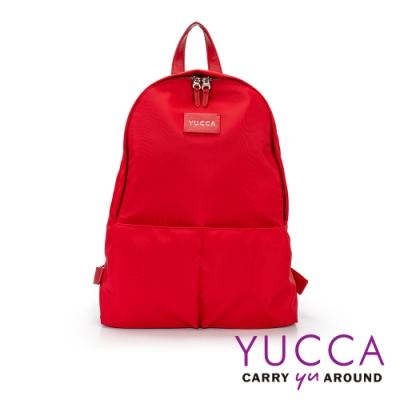 YUCCA 個性螢光色防潑水尼龍後背包-紅色 D012303