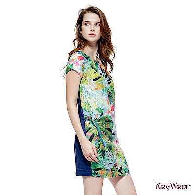 KeyWear奇威名品     100%麻特殊立褶短袖洋裝-綜合色