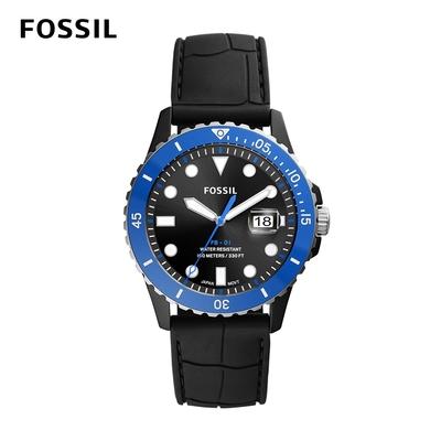 FOSSIL FB - 01 藍銀雙色錶框個性大錶針水鬼潛水手錶 黑色矽膠錶帶 42MM CE5023