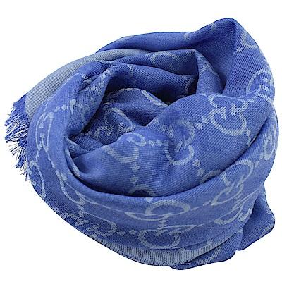 GUCCI 經典LOGO羊毛織圍巾/披肩(藍紫)