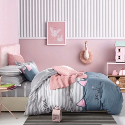 A-ONE 100%純棉-清新H系列-加大床包/兩用被組-貓咪甜心