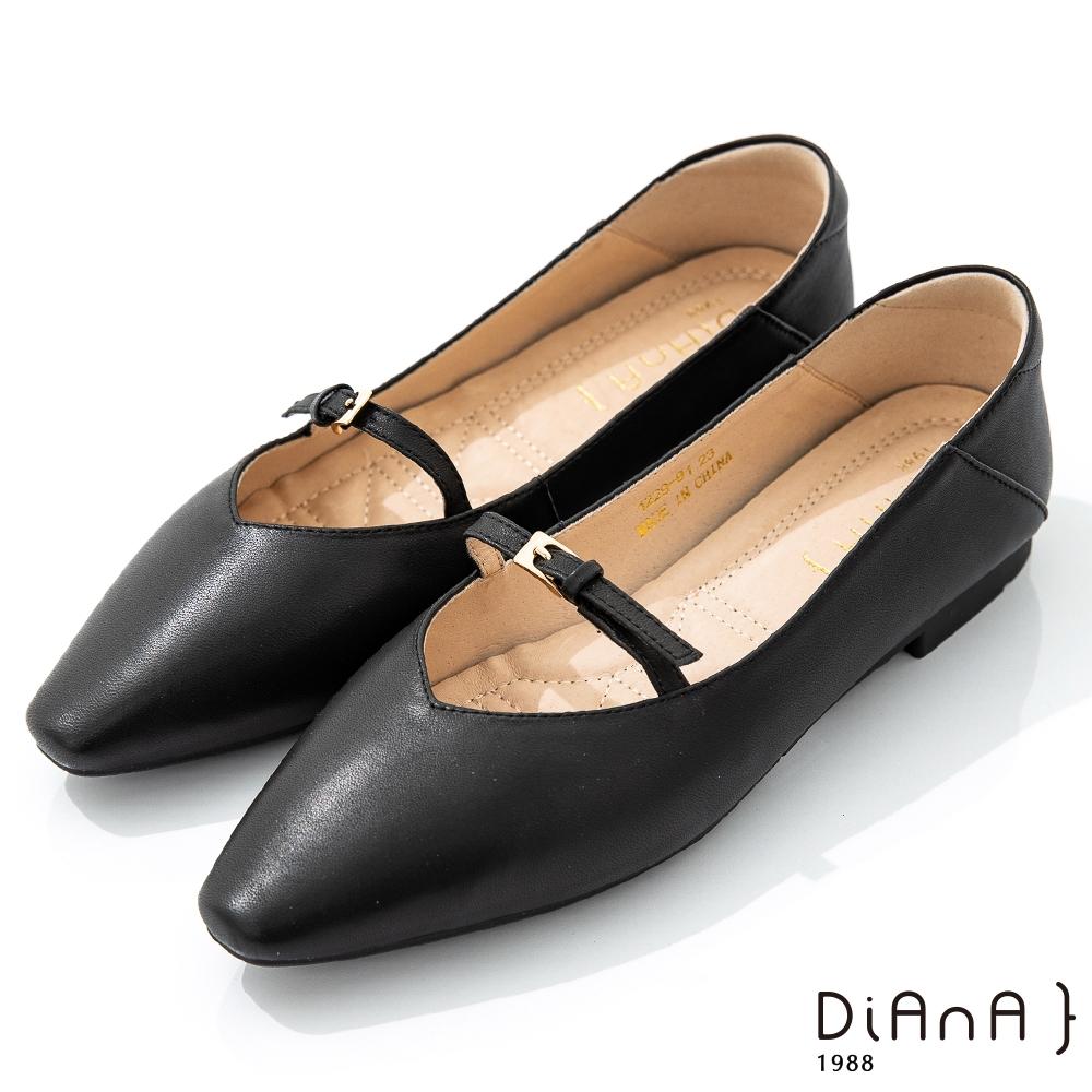 DIANA 1.7cm質感羊皮小皮帶釦飾方尖頭瑪麗珍娃娃鞋-簡約優雅-黑