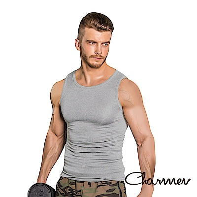 男性塑身衣 彈力羅紋緊身背心 Charmen 灰色