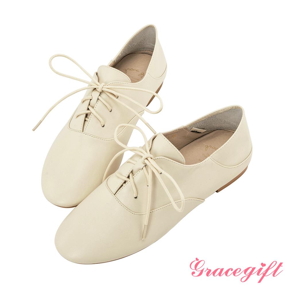 Grace gift-全真皮2way簡約綁帶便鞋 米白