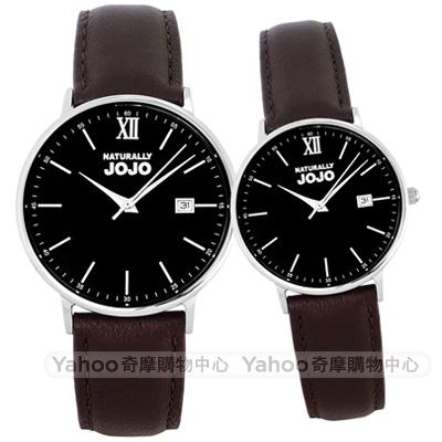 NATURALLY JOJO簡約真皮手錶男女對錶-黑X咖啡/35/41mm