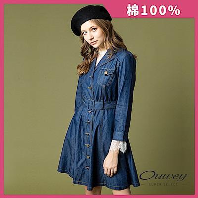 OUWEY歐薇 優雅率性牛仔長版外套(藍)