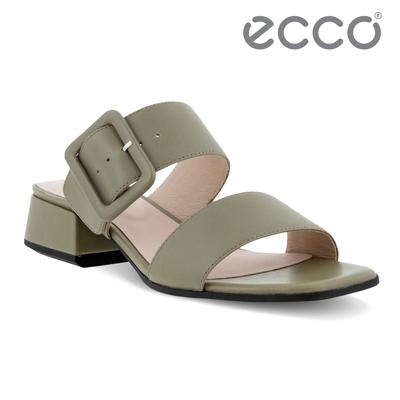 ECCO ELEVATE SQUARED SANDAL 塑雅方頭摩登粗跟涼鞋 女鞋 草綠色