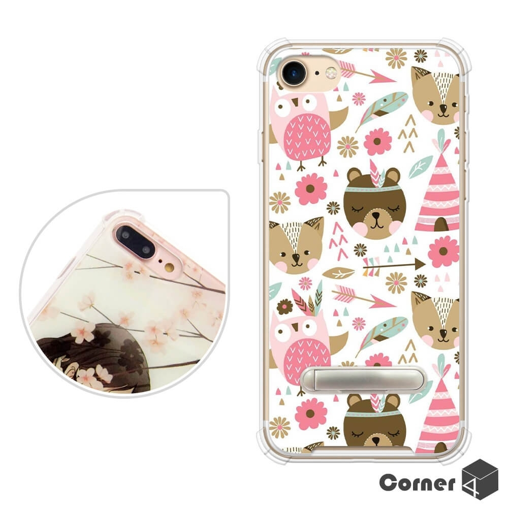 Corner4 iPhone SE(第二代/2020) / 8 / 7 4.7吋四角防摔立架手機殼-森林物語