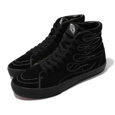Vans 休閒鞋 V38CF Flame SK8-HI 男女鞋 日線 全黑 火焰 麂皮 高筒 情侶鞋 黑 6100020001