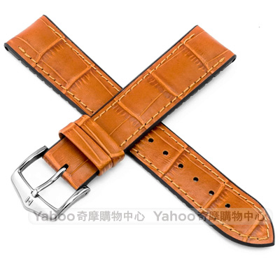 海奕施 HIRSCH Paul L 300米防水 小牛皮橡膠錶帶-蜂蜜黃
